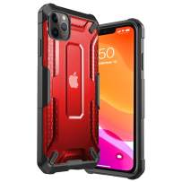 iPhone 11 Pro Max Case Clear Hard PC Cover Heavy Duty Military Grade Shockproof Drop Protection Phone Case Compatible for iPhone 11 Pro Max, 6.5 Inch 2019 - Red