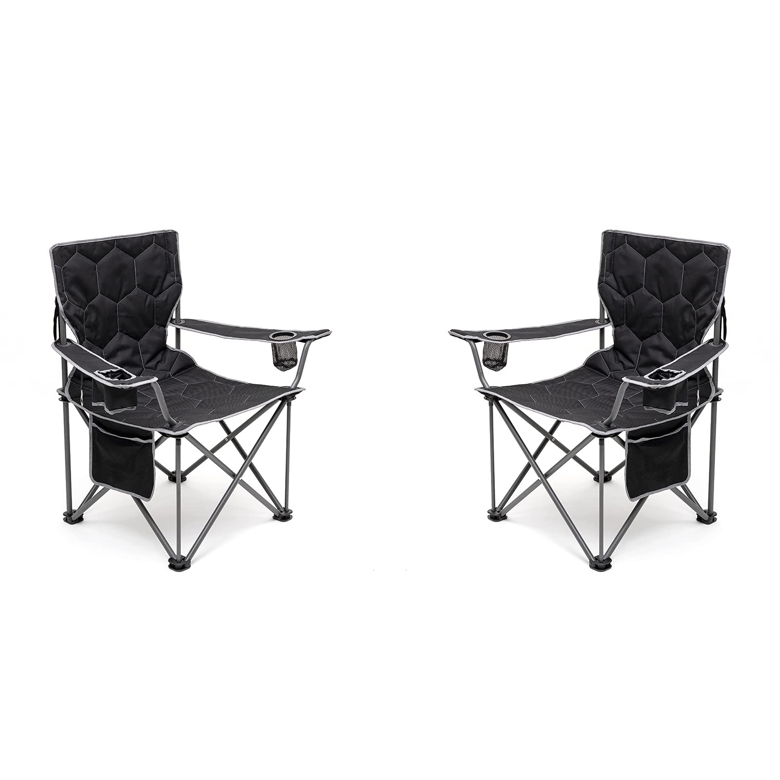 SUNNYFEEL Oversized Camping Chair, Heavy Duty, Supports 500 LBS, Padded Portable Folding Chair with Armrest Cup Holder & Side Pocket for Beach/Lawn/Outdoor/Travel/Picnic, Storage Camp Chairs