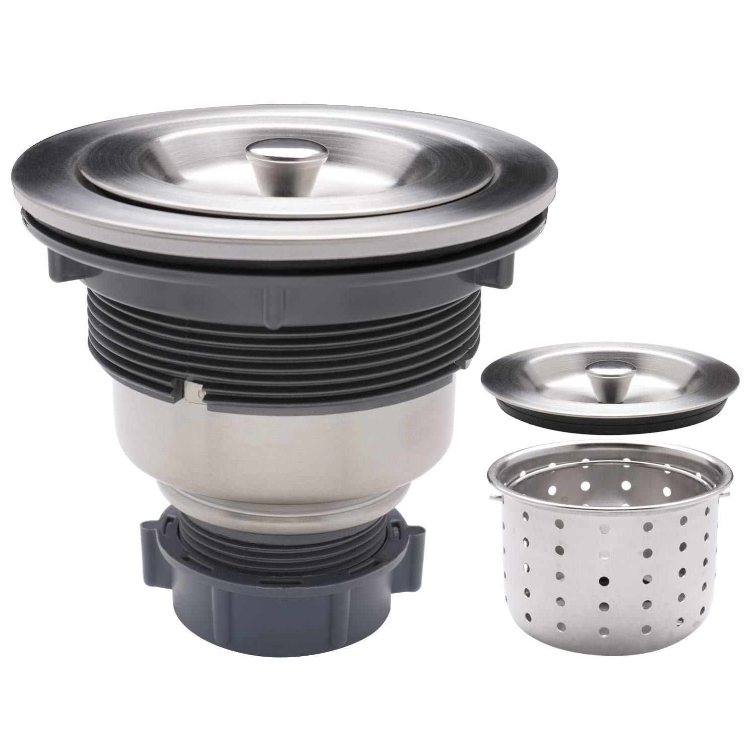 Enbol SS-1 Kitchen Sink Long Threads Strainer, 3-1/2-inch Sink Drain Strainer Assembly with Removable Deep Waste Basket, Sealing Lid, Stainless Steel