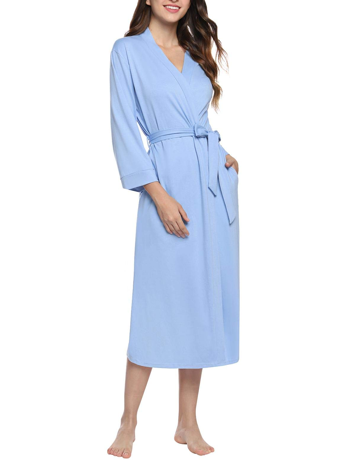 Abollria Women Kimono Robes Cotton Long Bathrobe Lightweight Sleepwear Soft Lounge Robe with Pocket
