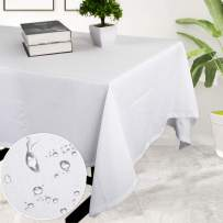 Haperlare Waffle Woven Tablecloth, 52 x 70 Inch Rectangular Fabric Table Cloth, Water-Repellent and Stain Resistant Table Cover for Buffet Table, Parties, White