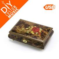 Custom Sound Jewelry Box for Girls and Women, 95 MB USB Module, 15+ MP3 Songs, Red Rose Inlay Music Box with Drag-n-Drop Music, Rechargeable Battery, Music Box with Lock (L1 Exclusive)