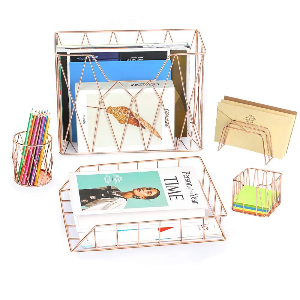 NEX Rose Gold Office Supplies, 5 Piece Desk Organizer Set - Hanging File Organizer, Letter Sorter, Letter Tray, Pencil Holder and Stick Note Holder