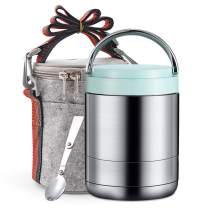 Arderlive Vacuum Insulated Lunch Box,34Oz 18/8 Stainless Steel Thermal Food Jar with Insulated Lunch Bag & Spoon,Soup Thermos Stay Hot for 6 Hrs.(light blue,34oz)