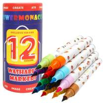 Markers for Kids Ages 2-4 Years, Soft Tips for Broad Line & Fine Line, 12 Colors Toddler Washable Markers for Coloring Books, Safe Nontoxic Markers for Boys & Girls Flower Monaco