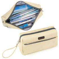 Homecube Pencil Case Cosmetic Bag Student Stationery Pouch Bag Office Storage Organizer for Girl Boy Women Men - Beige