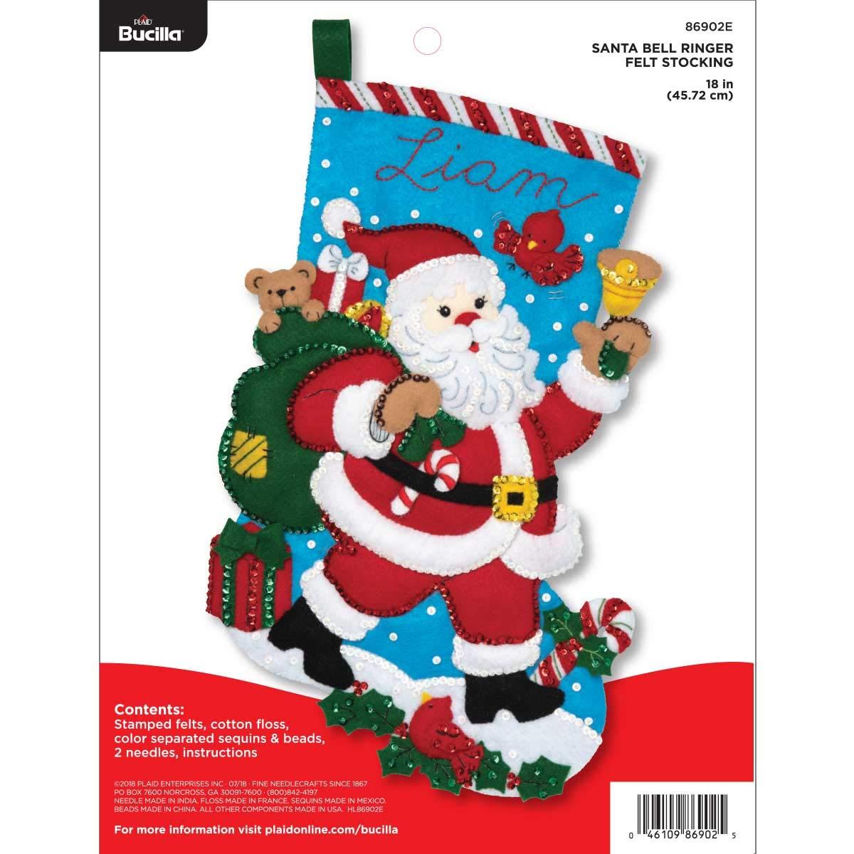 "Bucilla Felt Applique Christmas Stocking Kit, 18"", Santa Bell Ringer"