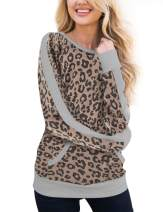 Womens Leopard Blouse Waffle Knit Trim Long Sleeve Top Casual Camouflage Sweatshirt with Pockets