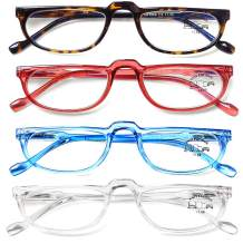 AQWANO 4 Pack Computer Reading Glasses Blue Light Blocking Lightweight Fashion Designer Half Frame Readers Spring Hinge for Men Women, 1.0
