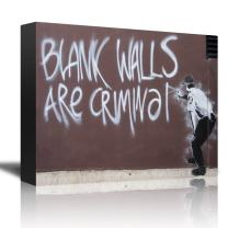 "wall26 - ""Blank Walls are Criminal by Banksy - an Officer Spray Painting a Wall - Canvas Art Home Decor - 12x18 inches"