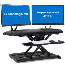 Tangkula Electric Standing Desk, Height Adjustable Desktop Convertor, Sit to Stand Desk Power Riser Converter Desktop Fit Dual Monitors 2-Tier Design with Removable Keyboard Tray Deck (43'' Desktop)