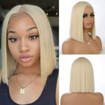 aSulis Short Bob Wigs 613 Blonde Synthetic Hair Wig Natural Straight Bob Wigs Middle Part Bob Wigs for Black Women 130 Density (# 613 Blonde)