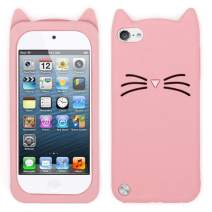 for iPod Touch 5 6 7 Case Cat for Girls Teens Kids (4.0 inches), Cute Kawaii 3D Cartoon Kitty Meow Whisker Cat Animal Soft Silicone Rubber Protective Phone Case for iPod Touch 5 6 7 Generation