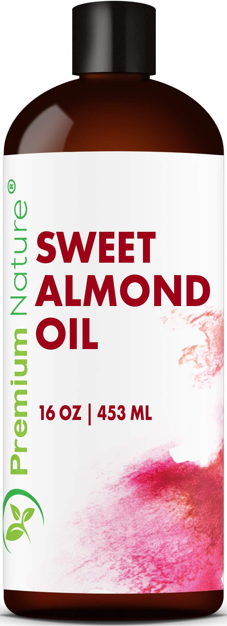 Sweet Almond Oil Carrier Oil Cold Pressed Pure Natural Body Massage Oils For Essential Oils Mixing Baby Oil Dry Skin Face Moisturizer Eye Makeup Remover Healthy Nails Cleansing Properties 16 Oz