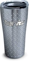 Tervis 1277443 Tervis Diamond Plate Stainless Steel Tumbler with Clear and Black Hammer Lid 20oz, Silver