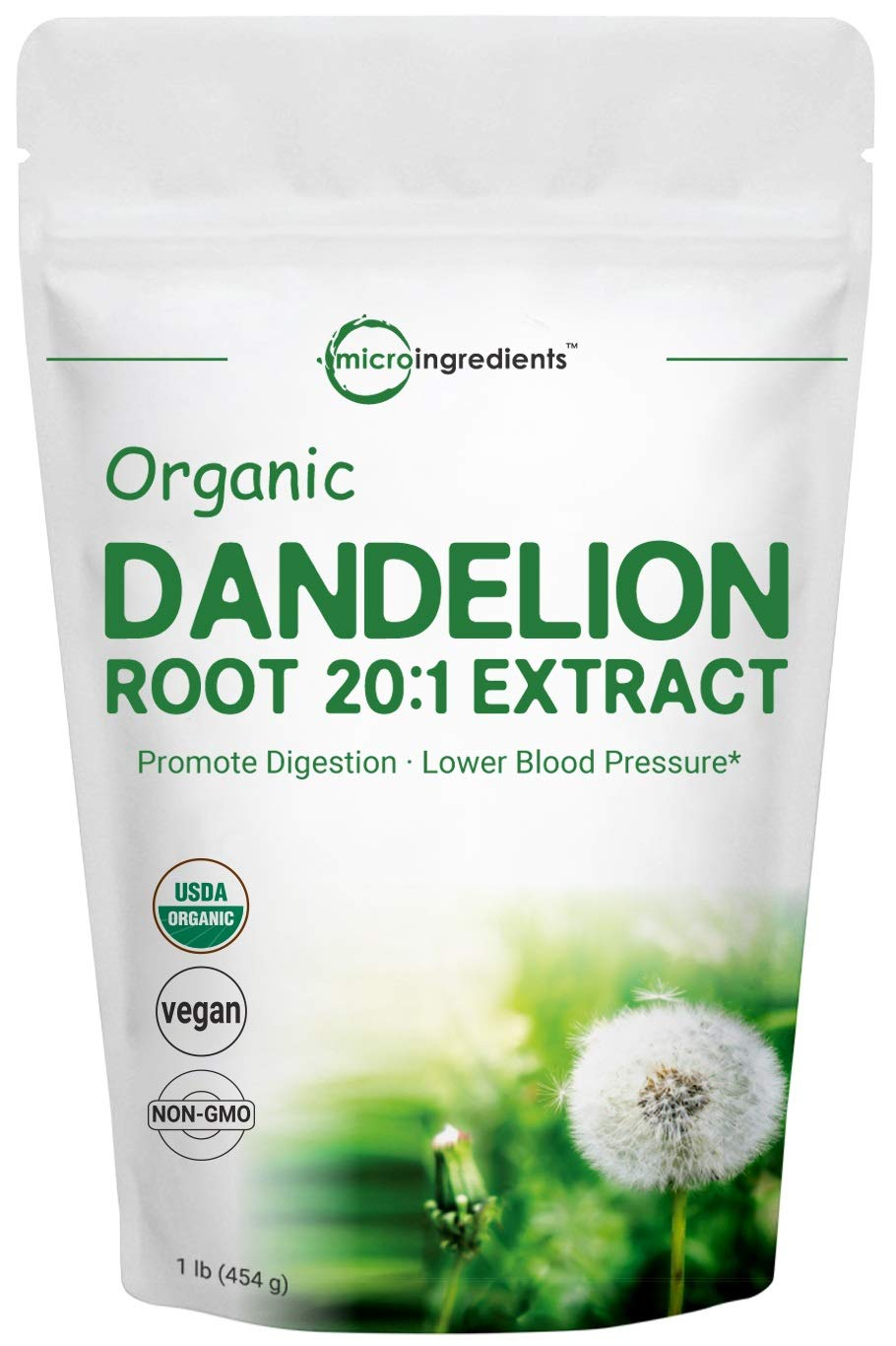 Sustainably US Grown, Organic Dandelion Root Powder, 1 Pound (16 Ounce), Strong Liver Health Support, Non-GMO and Vegan Friendly