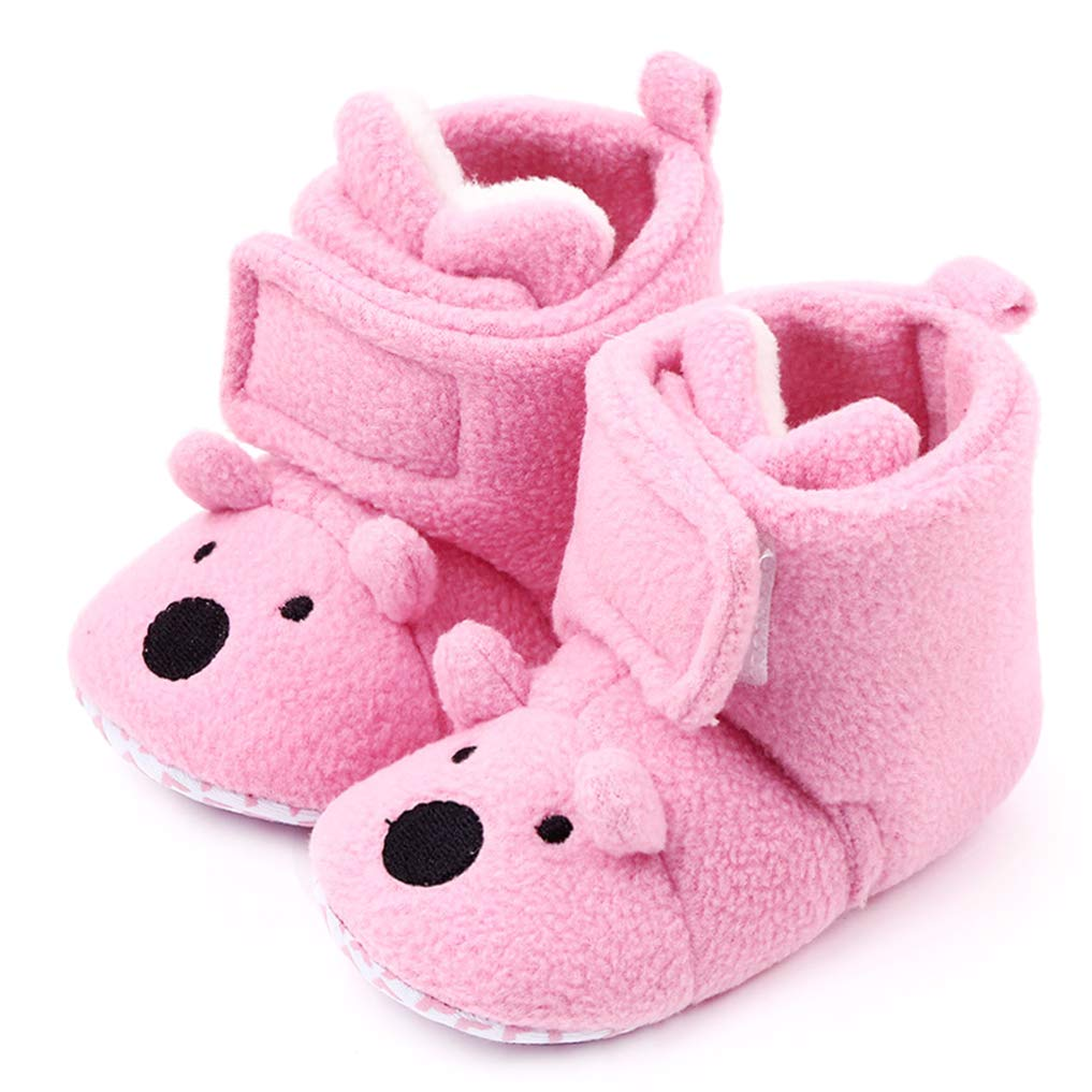 LOUECHY Baby Fleece Booties Toddler Cozy Shoes Warm Infant Boots with Non Skid Bottom