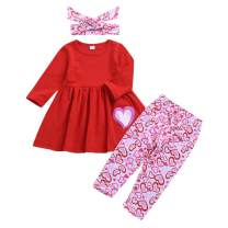YOUNGER TREE Valentine's Day Outfit Toddler Baby Girl Long Sleeve Dress Heart Print Pants Set with Headband