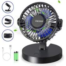 EXCOUP Battery Operated Fan, USB Fan Small Desk Quiet Noise<40 dB Rechargeable Portable Fan with 360° Rotation and a three-stage folding design for Home Office Car Outdoor Travel