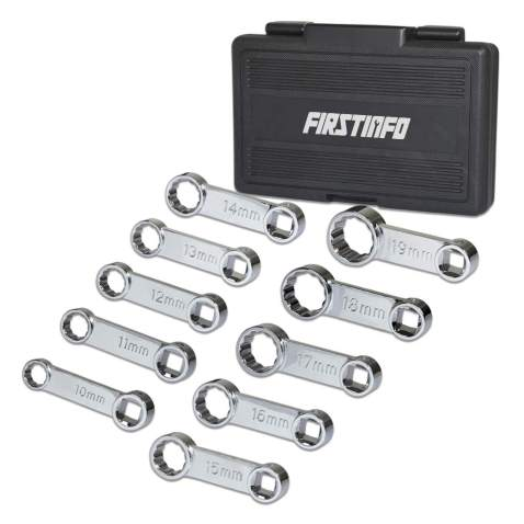 FIRSTINFO 3/8-inch Drive Metric Box End Torque Adapter Set, 12 Point, 10 PCS w/ Blow Case