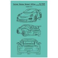 "Inked and Screened SP_AUTO_623,557_BR_17_K Porsche GT3 RS-2009 Print, 11"" x 17"" 11"" x 17"" Blu Raspberry - Black Ink"