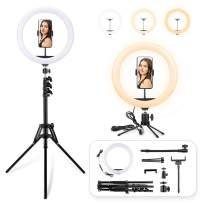 LED Ring Light with Tripod Stand, 12 inch Dimmable Live Light Kit, 3 Color Modes and 10 Brightness, USB Powered, Heighten Hose, Desktop Stand, Phone Holder for Live Streaming, Video Shooting, Camera