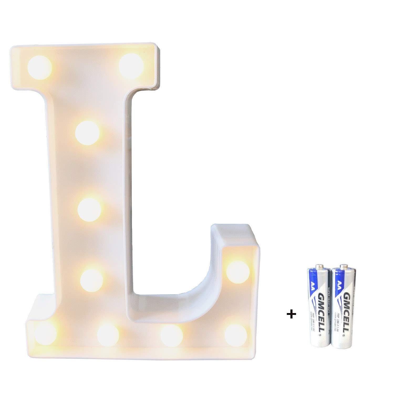 bemece LED Alphabet Letter Lights, Marquee Decorative Warm Plastic Light up Sign (Battery Included)- Letter L
