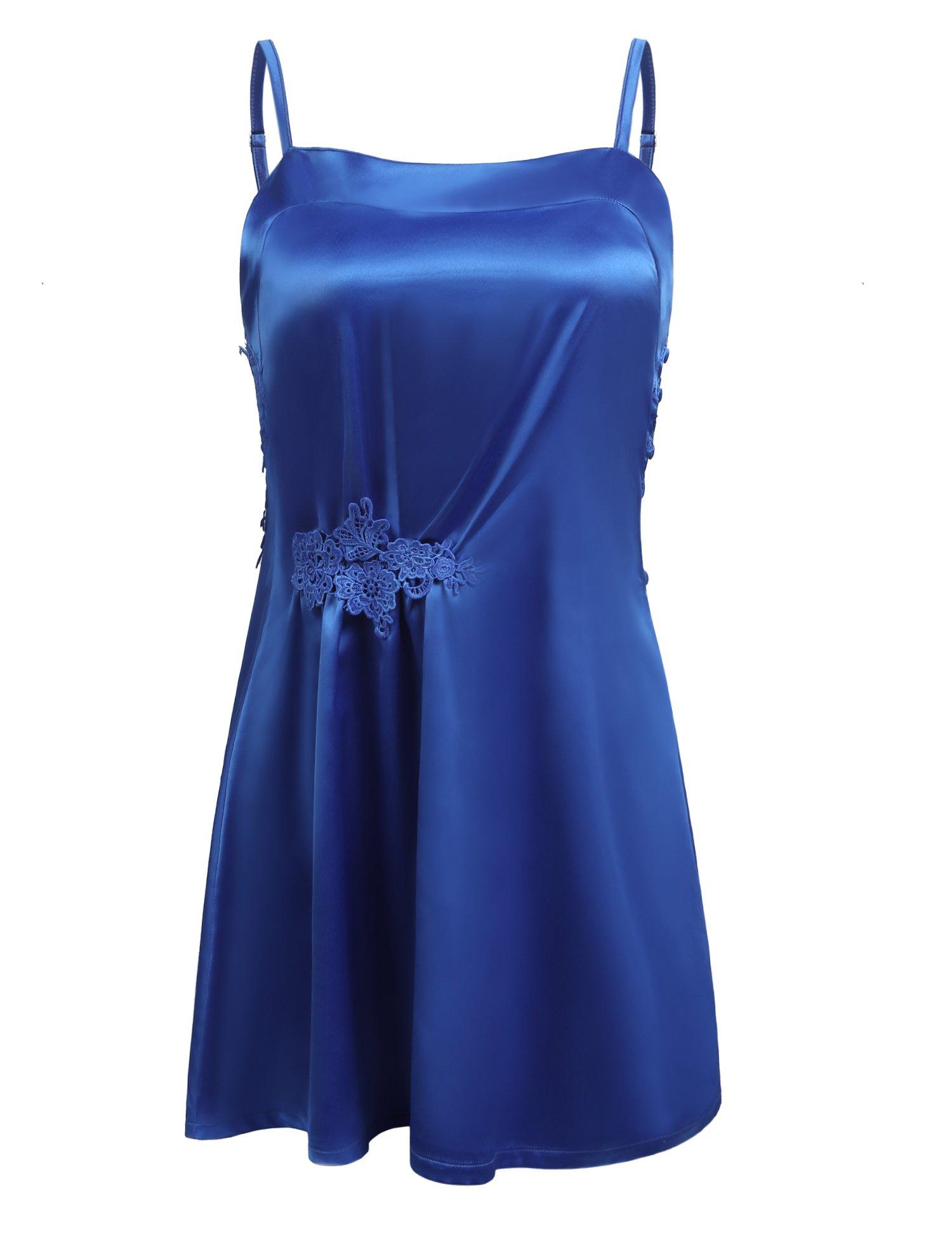 luxilooks Sleepwear Women Satin Nightdress Racerback Sleeveless Chemise Nightgown Sexy Slip Dress S-XXL