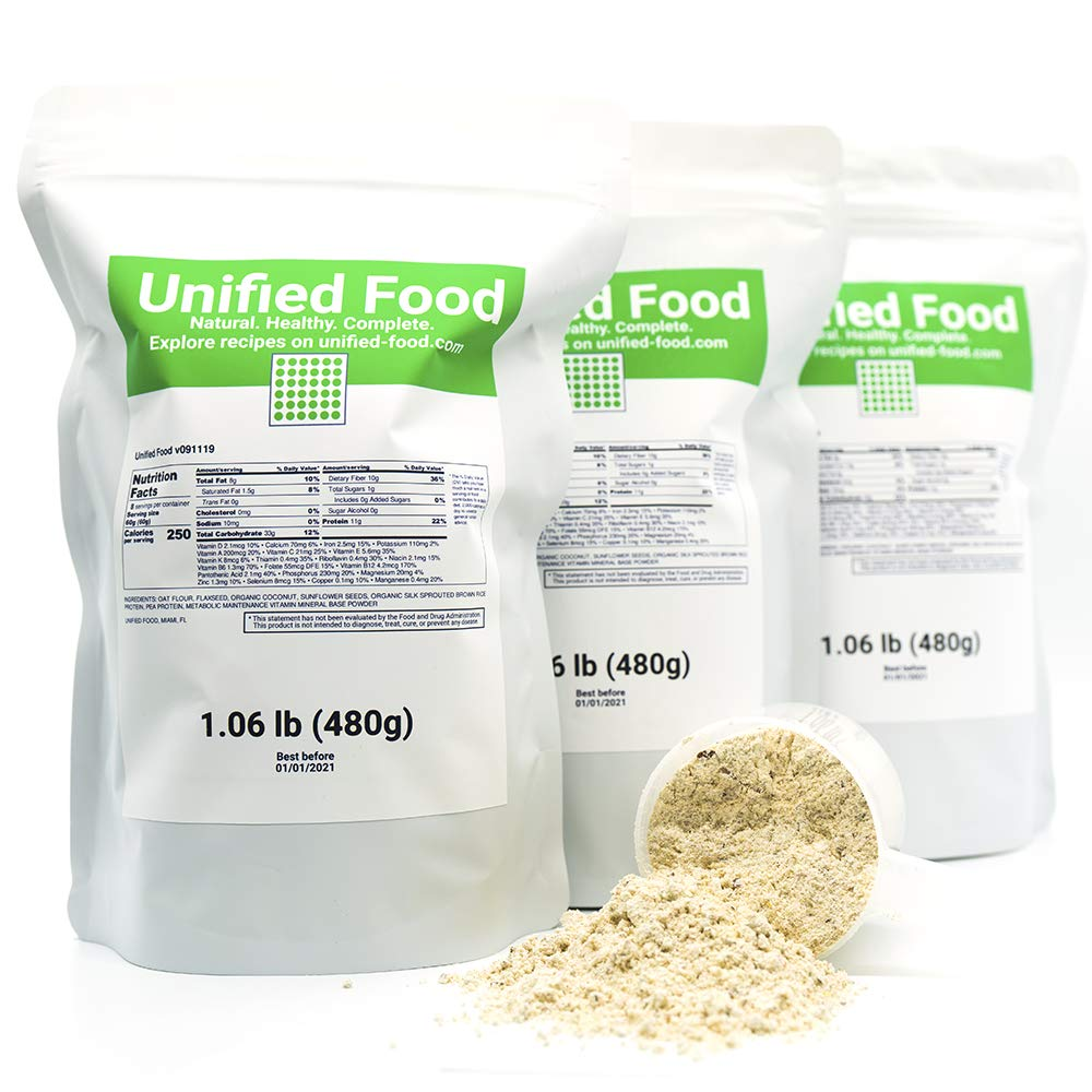 Unified Food - 3 Pack (3.18 lb) Organic Meal Replacement Powder - Nutritionally Complete Superfood