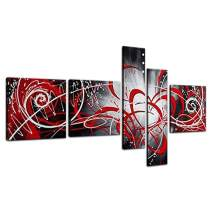 Yatsen Bridge Globalartwork- HD Print 5 Piece Black White Modern Abstract Oil Paintings on Canvas Peacock Pictures Wall Art for Living Room (red)