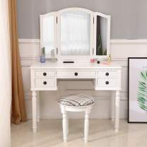 Henf Vanity Table Set,Wood Dressing Table with Tri-Folding Mirror, Makeup Desk with Stool&5 Drawers Storage for Bedroom Furniture,White (Style-1)