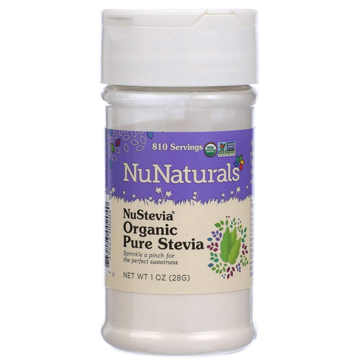 NuNaturals NuStevia Organic Pure Stevia All Natural Sweetener, 1 Ounce