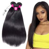 8A Malaysian Virgin Hair Straight 3 Bundles Deals 10 12 14 Inches 100% Unprocessed Human Hair Bundles Weave 300g Natural Black Can be Dyed CHEEON …