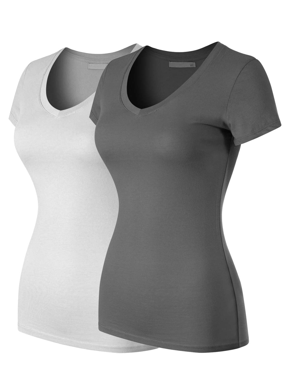 MixMatchy Women's Basic Solid Multi Colors Fitted Short Sleeve T-Shirt [S-3XL]