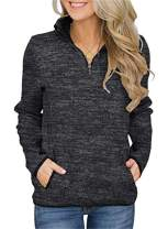 Artfish Women's Women Quarter Zip Casual Pullovers Lightweight Fleece Sweatshirts with Pockets