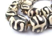 Batik Bone Beads - Full Strand of Fair Trade African Beads - The Bead Chest (Sphere, Traditional Design)