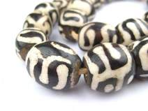 Batik Bone Beads - Full Strand of Fair Trade African Beads - The Bead Chest (Sphere, Traditional Design)