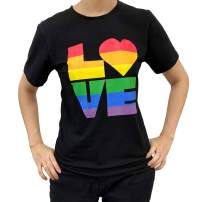 Novelty Black Valentine's Day T Shirt Tops with Big Rainbow Love Printed for Women
