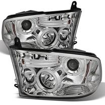For 2009-2018 Ram Pickup Truck Chrome Clear Dual CCFL Halo Ring LED Projector Headlights Replacement Pair