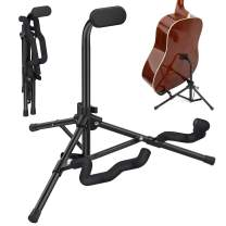 MoKo Guitar Stand, Folding Metal Stand for Electric Acoustic Guitar Ukulele Bass Adjustable Guitar Floor Stand Travel Portable Guitar Holder for Studio Room Home Show with Carry Bag - Black