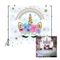 Laeacco Cute Unicorn Background 5x5ft Vinyl Photography Background Unicorn Head with Flowers Gold Stars Eyelashes Cloud Colorful Rainbow Newborn Baby Hower Party Decoration