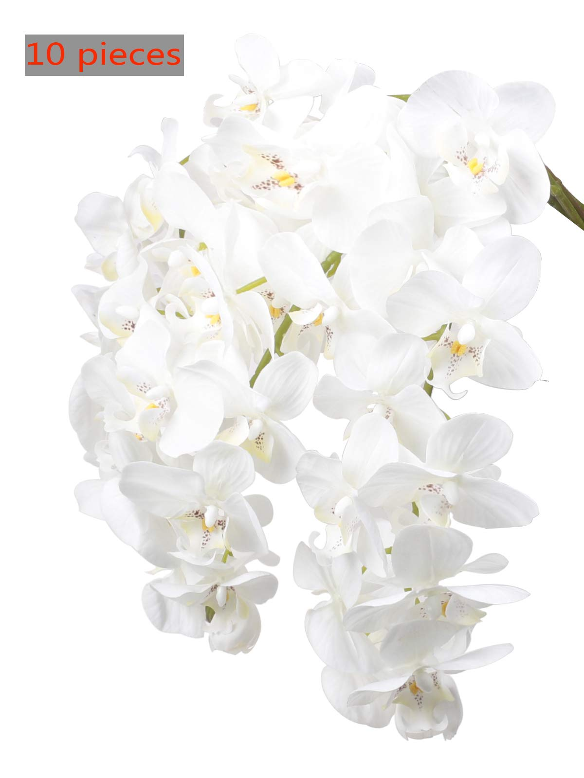 """Ivalue 28"""" Artificial Orchid Flower Stems Real Touch White Orchid Flower Plants Pack of 10, Box Packed, Perfect for Gift"""