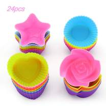 LKE 24pcs/set Nonstick Cupcake Molds, Reusable and Heat Resisant Baking Cups, Kid's Party Baking Supplies Round/Heart/Rose/Star Shape Silicone Cake Muffin Liners