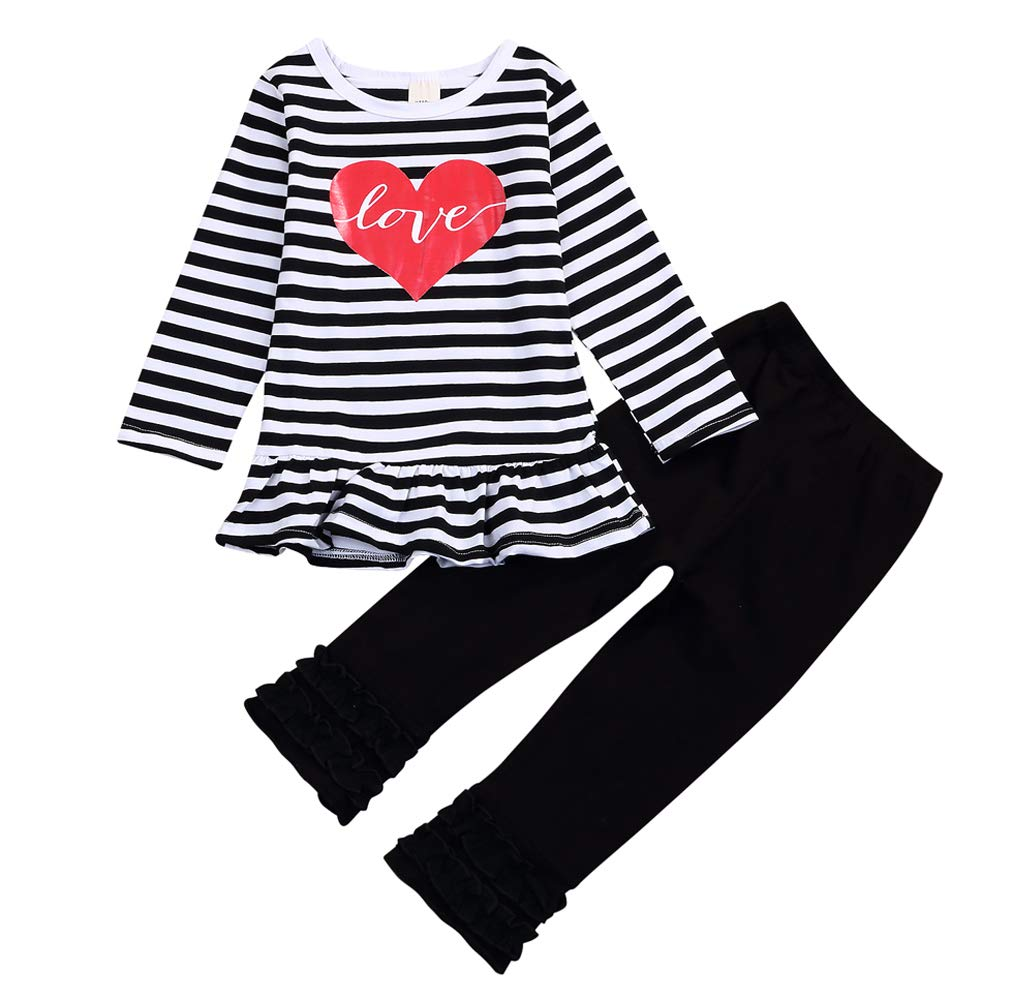 Valentine's Day Toddler Baby Girl Clothes Love Heart Dress Stripe Long Sleeve Outfits Ruffle Pant Set