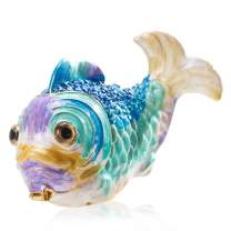 YU FENG Colorful Marine Fish Jewelry Trinke Box Rhinestones Bejewelled Sea Animal Trinket Holder Case