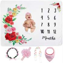"""LIUYAXI Baby Monthly Milestone Blanket for Baby Girl, Monthly Blanket for Baby Pictures, Baby Photo Blanket for Newborn Baby Shower, Includes Floral Wreath Headband Pacifier Clip + Bib, Large 51"""" 40"""""""
