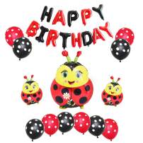 Ladybug Balloons Set HAPPY BIRTHDAY Balloon Banner Aluminum Foil Balloons and Latex Balloons for Baby Shower Kids Birthday Party Decorations Supplies