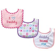 Luvable Friends Unisex Baby Cotton Drooler Bibs with Fiber Filling, Pink Daddy, One Size