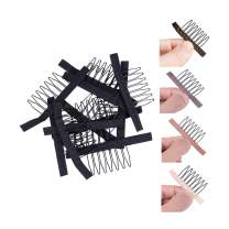 Wig Combs for Making Wig Caps 7-teeth Wig Clips Steel Teeth with Cloth Wig Combs for Hairpiece Caps Wig Accessories Tools Wig Clips for Wig 24 pcs/lot(Black)