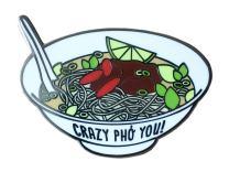 "TINY BEE CARDS - Pho Soup Enamel Pin""Crazy Pho You"" Pun Cloisonne Lapel Pin"